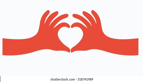 hands in the form of heart illustration, vector