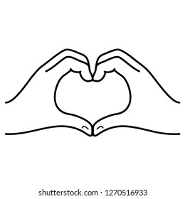 Hands in the form of heart. Symbol showing of feelings to other person. Declaration of love on Valentine Day. Vector flat outline icon illustration isolated on white background.