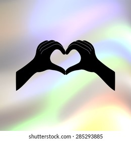 hands in the form of the heart vector icon