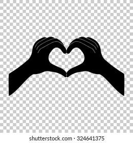 hands in the form of the heart vector icon - black illustration