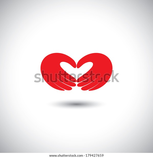 hands forming heart symbol - couple in love concept vector. This graphic illustration also represents boy & girl in love, love for nature, ecology & environment, husband & wife, partners