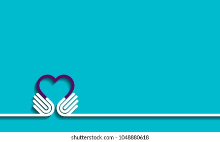 Hands forming a love heart. Business partnership, together, volunteering and helping concept. Give Vector