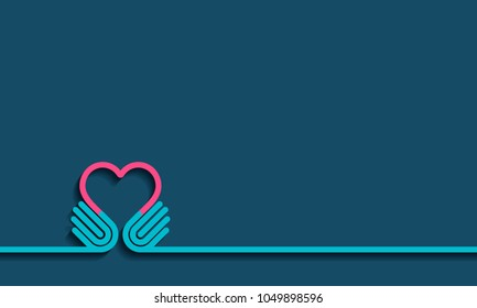 Hands forming a love heart. Business partnership, together, volunteering and helping concept. Give icon Vector