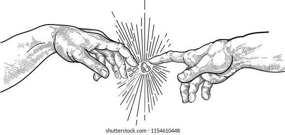 """hands with frescoes """"the creation of Adam"""""""