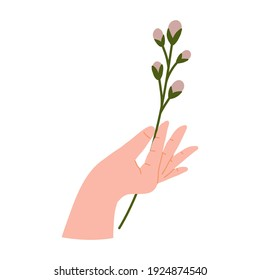 Hands gesture holding bouquets or bunches of blooming abstract lilac flowers illustration.