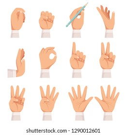 Hands gesture. Human palm and fingers touch showing pointing and holding taking vector cartoon collection isolated