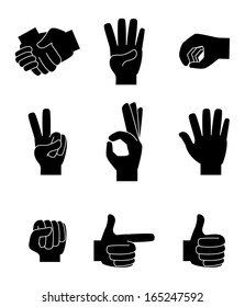 hands gesture over white  background vector illustration