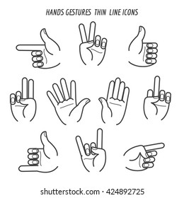 Hands gestures black thin line icons on white backgound. Vector illustration