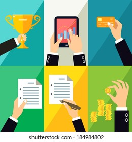 Hands gestures design elements of touch tablet sign document hold coin vector illustration
