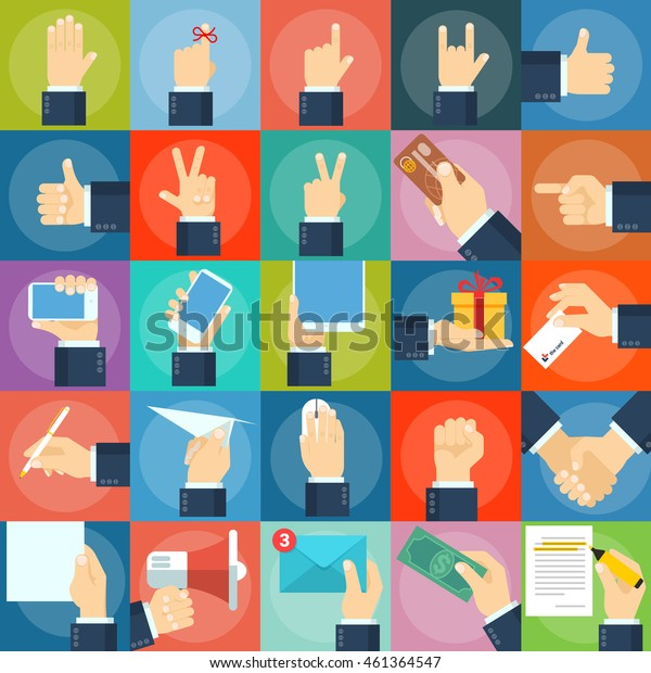 Hands and gestures flat design vector icon set.