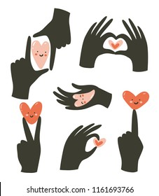 Hands gestures with heart isolated on white background. Vector illustration. Gestures of love and happiness.