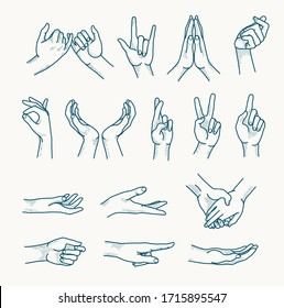 Hands Gestures Icons. Vector Illustration.