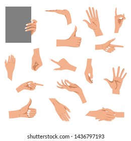 Hands gestures isolated on white background. Colored woman's hand gesture set with manicured nails vector illustration