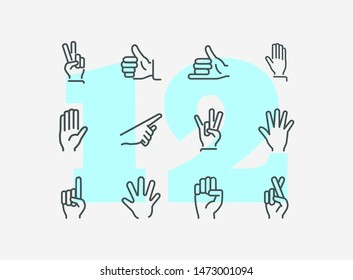 Hands with gestures line icon set. Thumbs up, pointing, ok sign. Gesture concept. Vector illsutration can be used for topics like communication, gesture language, social