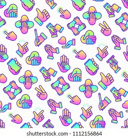 Hands gestures seamless pattern with thin line icons set: handshake, easy sign, single tap, 2 finger tap, holding smartphone, teamwork, mutual help, thumbs up, give love, peace. Vector illustration.