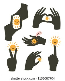 Hands gestures with sun isolated on white background. Vector illustration. Gestures of love and happiness.