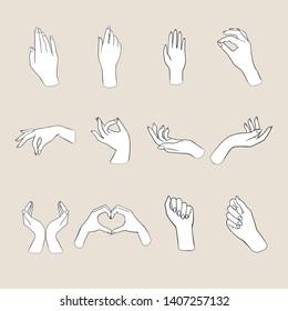 Women's hands gestures  = Vector illustrations of women's hands doing different gestures