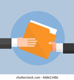 Hands Give Folder Document Papers, Concept Businessmen Share Information Data Icon Flat Vector Illustration