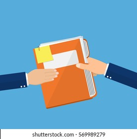 Hands Give Folder Document Papers, Concept Businessmen Share Information. vector illustration in flat style