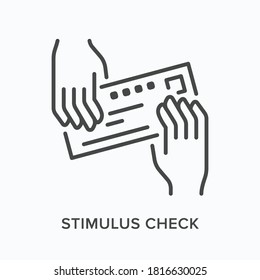 Hands giving bank check flat line icon. Vector outline illustration of payment, voucher. Stimulus cheque thin linear pictogram.