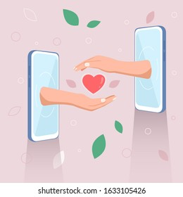 Hands giving hearts from smartphone, love at a distance. Vector illustration