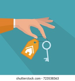 Hands giving keys for house. Sell house icon, successful investment concept. House handover. Vector