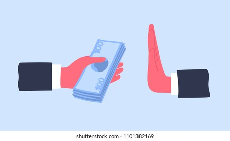 Hands giving money banknotes or offering bribe and refusing to take it. Concept of struggle against bribery and prevention of corruption. Cartoon colorful vector illustration in modern flat style