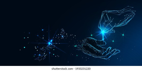 Hands giving and receiving coin. Abstract vector illustration in dark blue. Donation money, charity, payment concept. Low poly mesh wireframe with connected dots, lines, stars and shape