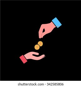 Hands Giving and Receiving Money. Color vector icon on black background