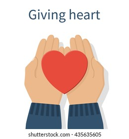 Hands giving red heart. Vector illustration flat design. Holding heart in hands. Symbol of charity, love, sincerity.
