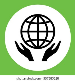 hands with globe, planet, network, eco, care icon simple in circle