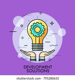 Hands and glowing light bulb with gear wheel inside. Concept of development solution, idea creation, technical problem solving. Creative colorful vector illustration in thin line style for web banner.