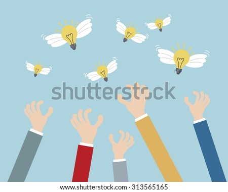 Hands Grab Bulb Idea Business Concept Stock Vector (Royalty