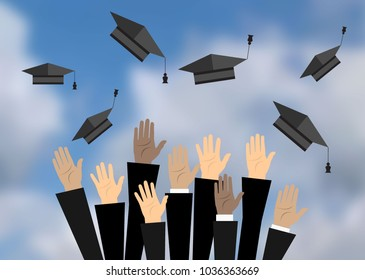 Hands of graduates throwing graduation hats in the air. Concept of education. College or university ceremony.  illustration in flat style