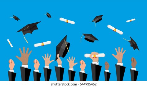 Hands of graduates throwing graduation hats and diplomas in the air. Concept of education. College or university ceremony. Vector illustration in flat style