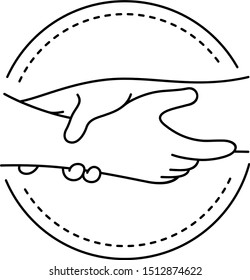 Hands grasping each other. Vector outline icon.