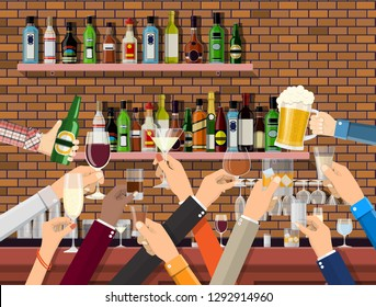 Hands group holding glasses with various drinks. Drinking establishment. Interior of pub cafe or bar. Bar counter, shelves with alcohol bottles. Celebration ceremony. Vector Illustration in flat style