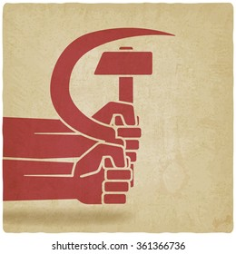 hands with hammer and sickle old background. vector illustration - eps 10