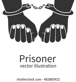 Hands in handcuffs isolated black icon on white background. Man in jail prisoner. Vector illustration flat design.