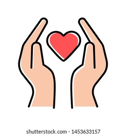 Hands with heart color icon. Volunteering activity. Nonprofit organization. Charity project. Friendship and love. Humanitarian help. Community service program. Isolated vector illustration