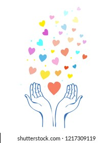 Hands and heart concept for the help and kindness. Vector graphic illustration