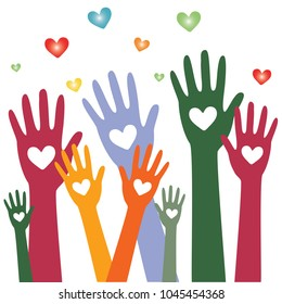 Hands and heart donation donor concept.Icon of kindness and charity.Vector illustration