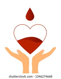 Hands and Heart with a Drop Blood Donation Concept