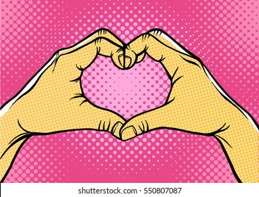 Hands in heart form,retro style pop art