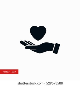 hands of the heart icon, flat design best vector icon
