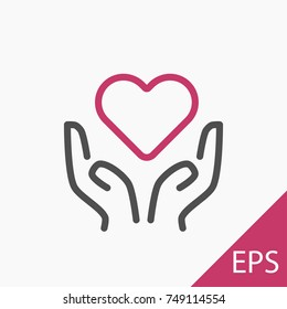 Hands with a heart icon on white background. Vector illustration