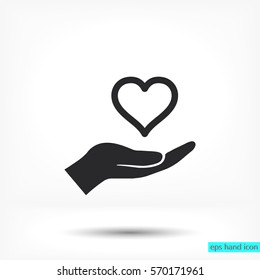 in the hands of the heart  icon, vector . 10 EPS