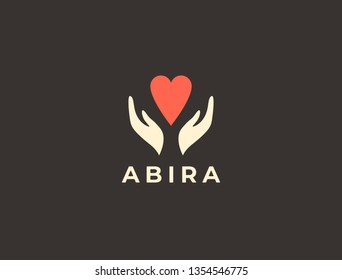 Hands with heart logo. Love, care, sharing, charity, medicine symbol. Valentines day logotype. Abstract medical health logo. Foundation logotype.