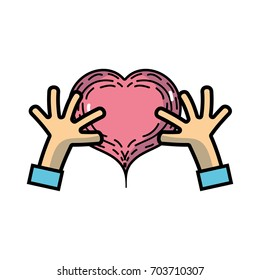 hands with heart to love symbol