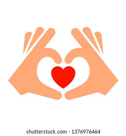Hands with heart new icon, two-tone silhouette, isolated on white background, vector illustration for your design.